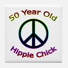 Hippie Chick 50th Birthday Tile Coaster