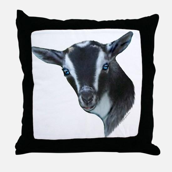 NIgerian Dwarf Goat Portrait Throw Pillow