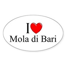 """I Love (Heart) Mola di Bari"" Oval Decal"