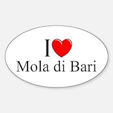 """I Love (Heart) Mola di Bari"" Oval Decal"