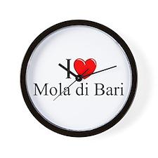 """I Love (Heart) Mola di Bari"" Wall Clock"