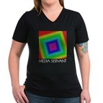 LED Media Servant Squares Ladies Dark T-Shirt