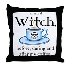 Coffee Witch Throw Pillow