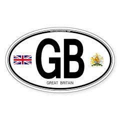 Great Britian (GB) Euro Oval Oval Sticker (50 pk)