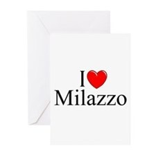 """""""I Love (Heart) Milazzo"""" Greeting Cards (Pk of 10)"""