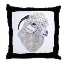 Angora Goat Portrait Throw Pillow