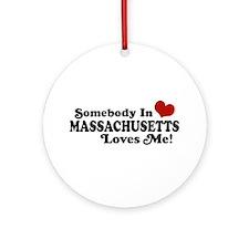 Somebody in Massachusetts Loves Me Ornament (Round