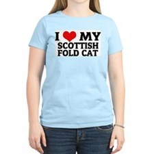I Love My Scottish Fold Cat Women's Pink T-Shirt
