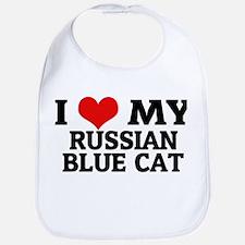 I Love My Russian Blue Cat Bib