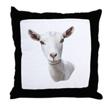 Saanen Goat Portrait Throw Pillow