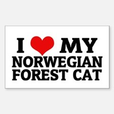 I Love My Norwegian Forest Ca Sticker (Rectangular