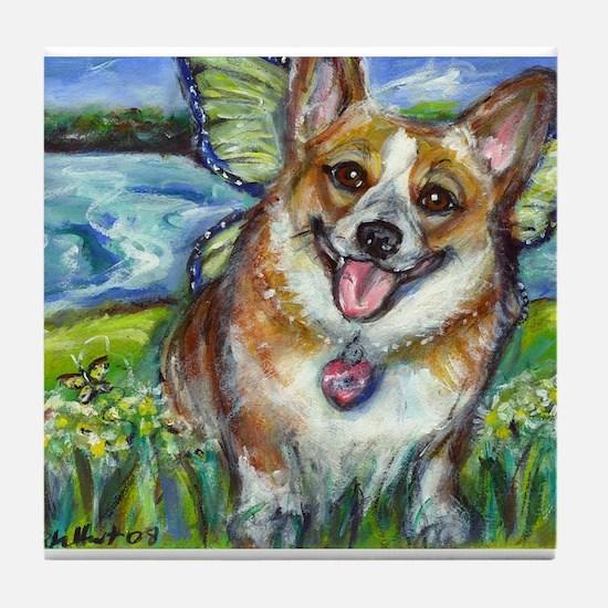 Welsh Corgi Fairy dog Tile Coaster