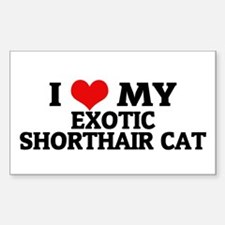 I Love My Exotic Shorthair Ca Sticker (Rectangular