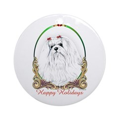 Maltese Happy Holidays Keepsake (Round)