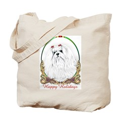 Maltese Happy Holidays Tote Bag