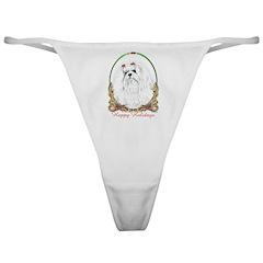 Maltese Happy Holidays Classic Thong