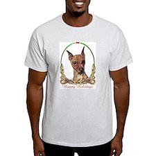 Miniature Pinscher Holiday Ash Grey T-Shirt