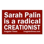 Sarah Palin: Radical Creationist bumper sticker