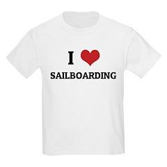 I Love Sailboarding Kids T-Shirt