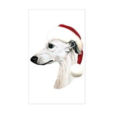 White Whippet Santa Rectangle Decal