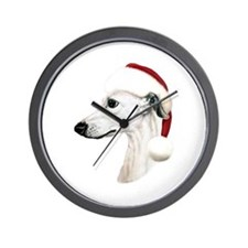 White Whippet Santa Wall Clock