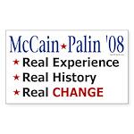 McCain/Palin Real Change Rectangle Sticker