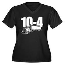 10-4 Trucker Women's Plus Size V-Neck Dark T-Shirt