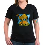 Camel Women's V-Neck Dark T-Shirt