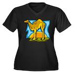 Camel Women's Plus Size V-Neck Dark T-Shirt