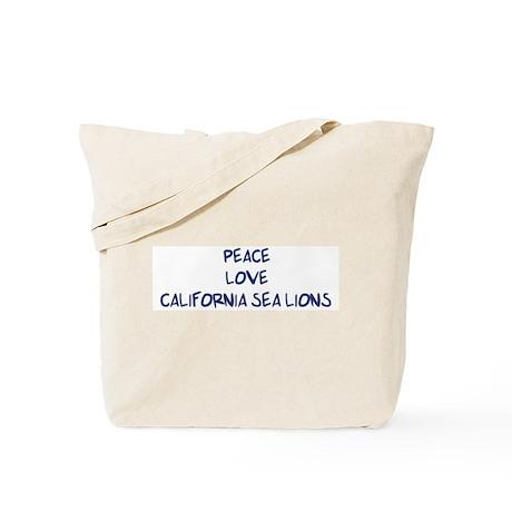 Peace, Love, California Sea L Tote Bag