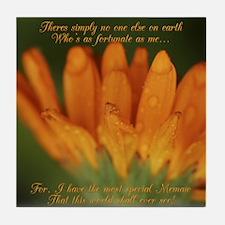 Memaw Orange Daisy Tile Coaster