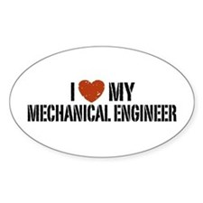 I Love My Mechanical Engineer Oval Decal