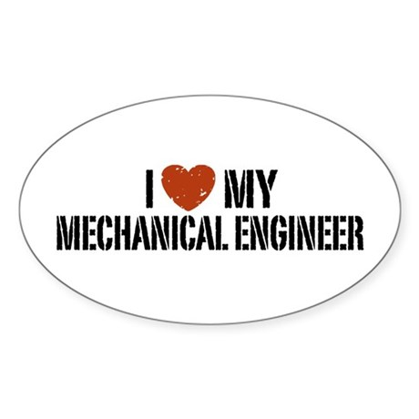 I Love My Mechanical Engineer Oval Sticker