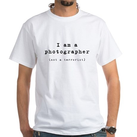 photographer (not terrorist) White T-Shirt