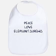 Peace, Love, Elephant Shrews Bib
