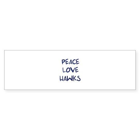 Peace, Love, Hawks Bumper Sticker