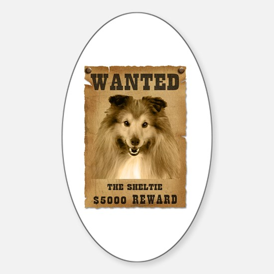 """Wanted"" Sheltie Oval Decal"
