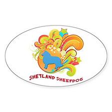 Groovy Shetland Sheepdog Oval Decal