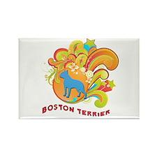 Groovy Boston Terrier Rectangle Magnet