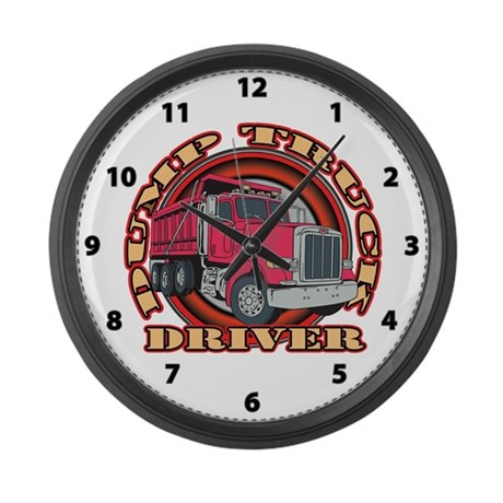Dump Truck Driver2 Large Wall Clock