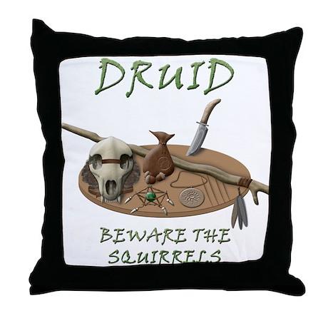 Druid - Beware the Squirrels Throw Pillow