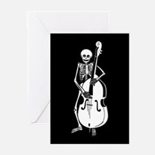 Upright Bass Skeleton Greeting Cards (Pk of 10)