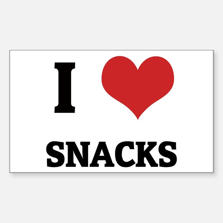 I Love Snacks Rectangle Decal