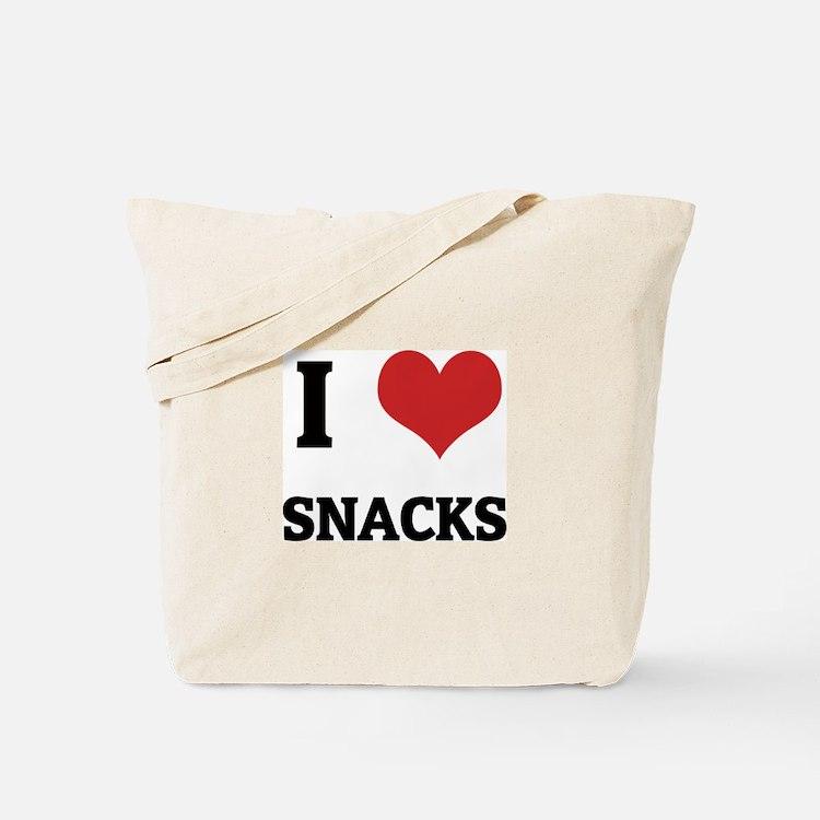 I Love Snacks Tote Bag