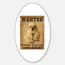 """""""Wanted"""" Cocker Spaniel Oval Decal"""
