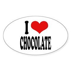 I Love Chocolate Oval Sticker (50 pk)