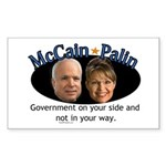McCain/Palin On Your Side Rectangle Sticker
