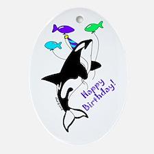 Orca Birthday Oval Ornament
