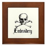 Embroidery - Skull and Crossb Framed Tile