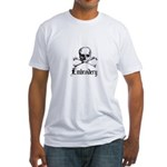 Embroidery - Skull and Crossb Fitted T-Shirt